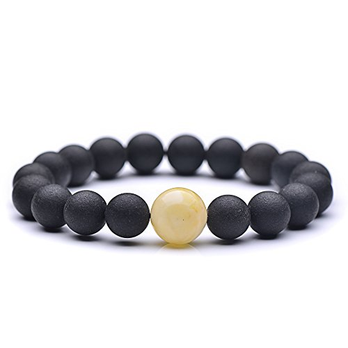Genuine Amber - Unisex Baltic Amber Bracelet for Adults - Round Shaped Not Polished Beads With One Polished White Bead - 100% Natural Baltic Amber - 7 Inches - Black, White (Bracelet Shape Amber)