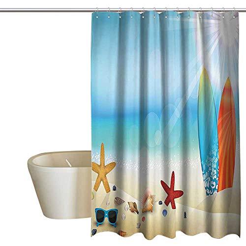 - Seashells Decor Bathtub Splash Guard Holiday Theme Sunglasses On The Sand Beach Summer Surfboard Daytime Sunny Starfish Seashells Shower Curtain Cool W72 x L96