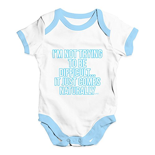 TWISTED ENVY - Pelele de bebé con Texto en Inglés I'm Not Trying to Be Dificult, White Blue Trim, 18-24 Meses