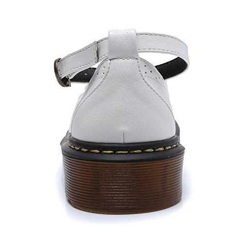 cinturino punta alla White fiocco da Smilun caviglia con donna arrotondata e ballerine t8wzC