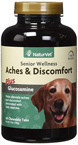 NaturVet - Senior Wellness Aches & Discomfort for Dogs Plus Glucosamine - 60 Chewable Tablets - Supports Joint Health & Function - Relieves Aches & Discomfort