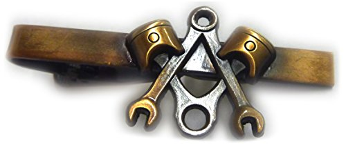 Piston Wrench Harley Antique Gold Motorcycle Mechanic Square Compass Masonic Tie Bar ()