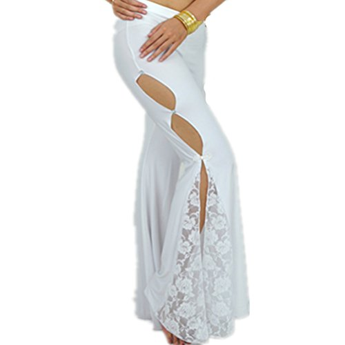 Women's Casual Lace Floral High Waist Flared Wide Leg Long Pants Belly Dance Pants with Side Slit Design(White)