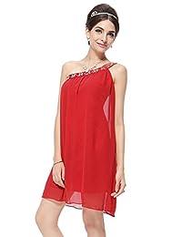 Vimans Women's Short One-shoulder Beaded Chiffon Cocktail Evening Dresses
