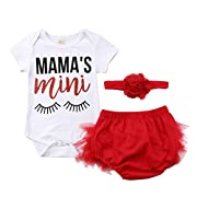 Newborn Baby Girls Floral Heart Peach Print Romper Long Pants with Bowknot Headband Outfit Set (3-6 Months, Red(Short Sleeve))