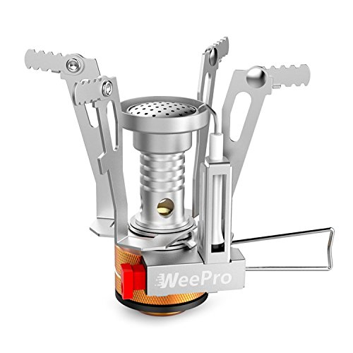 WeePro Mini Camping Stoves Backpacking Stove with Piezo Ignition – Stable Support Wind-Resistance Camp Stove for Outdoor Camping Hiking Backpacker Cooking – Ultralight Compact Camp Stove
