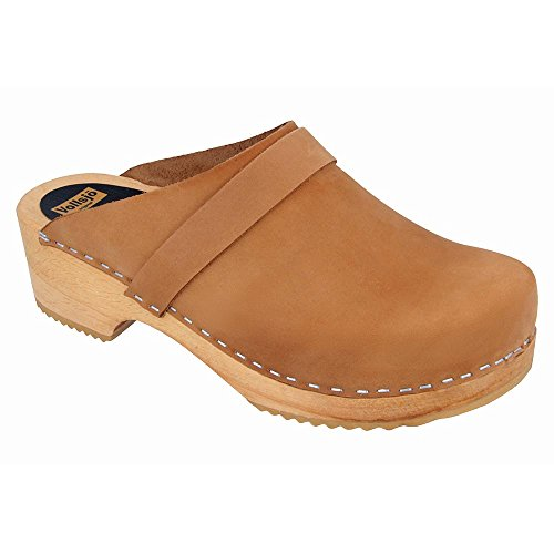 Vollsjo Women's Genuine Leather Wooden Clogs Made in EU, Light Brown,9 by Vollsjö