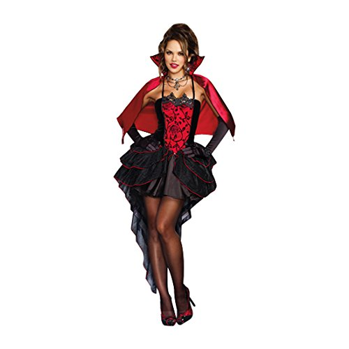 Dreamgirl Women's To Die Over Vampire Costume, Black/Red, (Womans Vampire Costume)