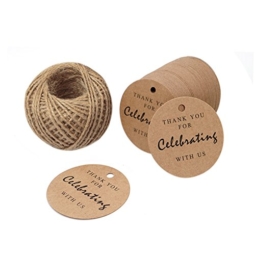 "100 Pieces Brown Kraft Paper Gift Tags Hang Tags, ""Thank You For Celebrating With Us"" Rectangular Kraft Tags with 100 Feet Jute Twine"