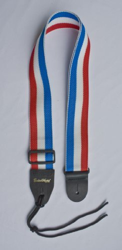 Guitar Strap Red White Blue Stripes Nylon Solid Leather Ends  Heavy Duty Tie Lace Quality Materials Hand Made in U.S.A. Fast  Free Shipping  Handli…