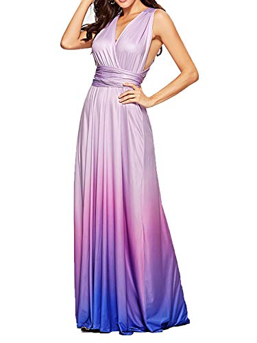 CHOiES record your inspired fashion Women's Infinity Gown Dress Multi-Way Strap Wrap Convertible Maxi Dress (Medium, Tie-Dye-Blue Purple)