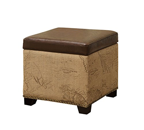 ARMEN LIVING Antique Brown Storage Ottoman with Natural Jute and Accent - Brown Trim Nailhead