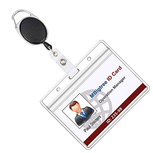Retractable Badge Holders with Carabiner Reel Clip and Horizontal Style Heavy Duty ID Card Holders 2 Packs