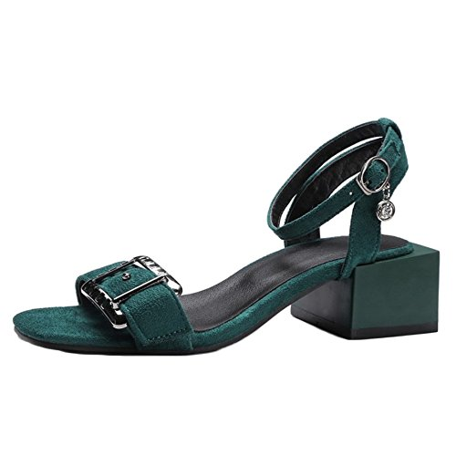 Suede Heel Green Sandals Shoes Fahion and Chunky with with 11 Materail UK SJJH Size Women Large xwYZqaqI