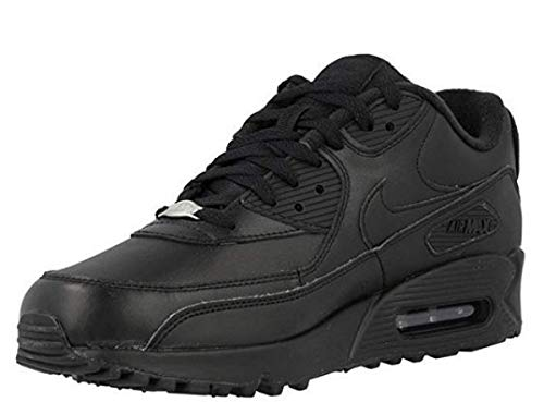 (Nike Air Max 90 Leather Mens Running Shoes (9 D(M) US), Black/Black )