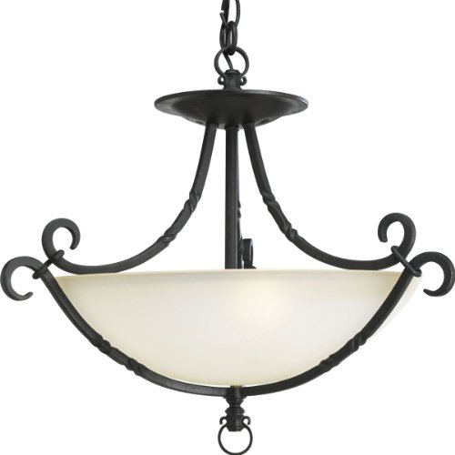 839-80 3-Light Santiago Close-To-Ceiling Semi-Flush Fixture, Forged Black ()