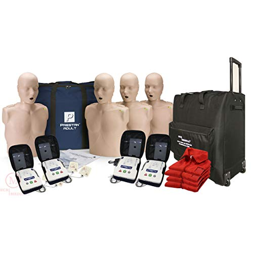 CPR Adult Manikin 4-Pack w. Feedback, AED UltraTrainers, Carry Bag w. Wheels