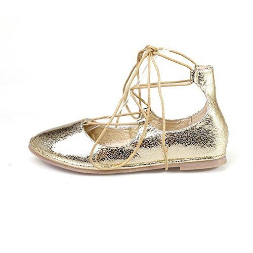 up Ohne Absatz Gold Runde Lace Feste Frauen Mischung Schuhe VogueZone009 Flache Toe Closed Materialien xT4faqxWyw