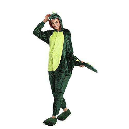 Costume oamore Tuta Cosplay Flanella Cosplay Pigiama Halloween Unicorn Adulto Dinosaur Sleepwear green Anime HOA0raOWp
