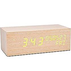 Extra Large Wood Digital Alarm Clock Jumbo LED Display Time Date Week, Desktop Clock Only USB Charge, Oversized Night Table Clock