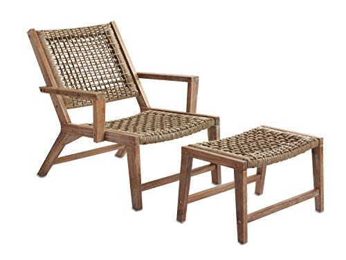 Sunset Garden SG65 | Sedona Outdoor Chair with Ottoman | Real Wood & Rope Weave Design, Ivory Brushed (Chair Woven Garden)