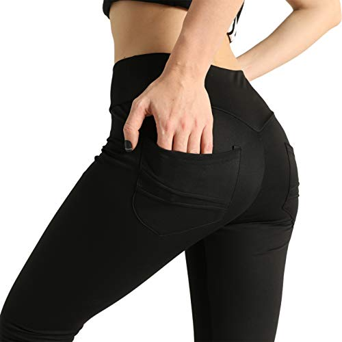 XH.Easy Go High Waisted Leggings for Woman Workout Yoga Butt Lifting Tummy Control Pants with Pockets (Black,S)