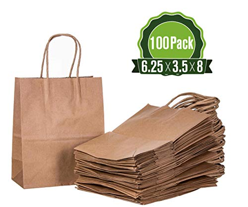 Brown Kraft Paper Gift Bags Bulk with Handles 6.25x3.5x8 [100 Bags]. Ideal for Shopping, Packaging, Retail, Party, Craft, Gifts, Wedding, Recycled, Business, Goody and Merchandise Bag]()