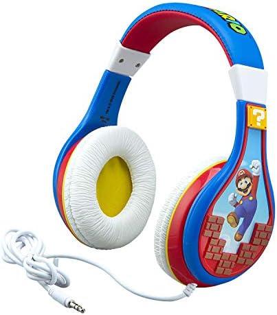 eKids Super Mario Kids Headphones Adjustable Headband Stereo Sound 3.5Mm Jack Wired Headphones for Kids Tangle-Free Volume Control Childrens Headphones Over Ear for School Home Travel