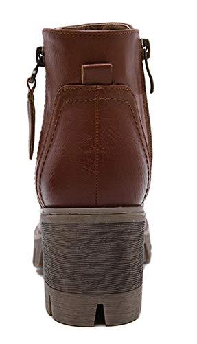 Aisun Brun Boots Low Femme Avec Zip Bottines Plateforme Classique AxwAqSUar