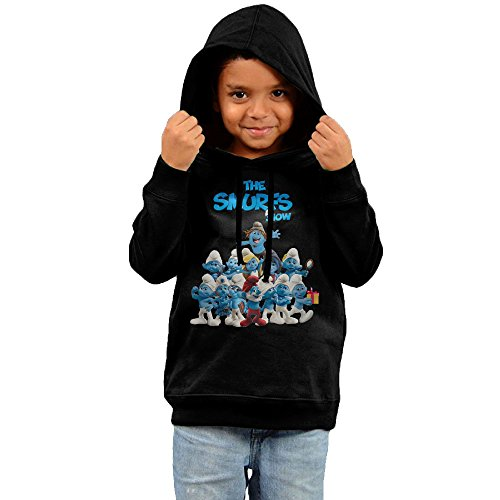 Price comparison product image 2016 Smurfs Juniors Cute Hoodies Black Hooded Sweatshirt For Your Kids