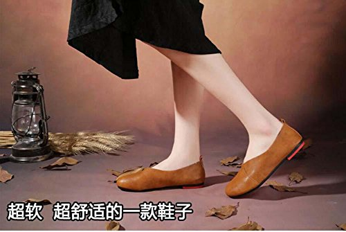 On Shoes 43 Shoes Toe Size Driving 35 Women Pregnant Casual Women Slip Large Round Ballerina Loafer Shoes Pump Bottom Soft Comfortable Black aq5Rfwx