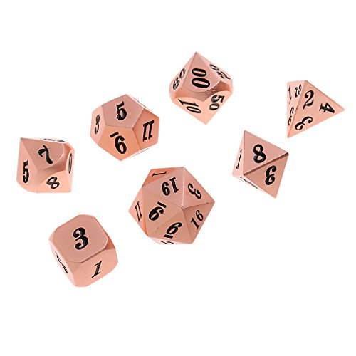 Baoblaze 7x Metal Polyhedral Dices Die Set D6-D20 for Board Games Dungeons and Dragons MTG RPG Toy Gifts #4 by Baoblaze