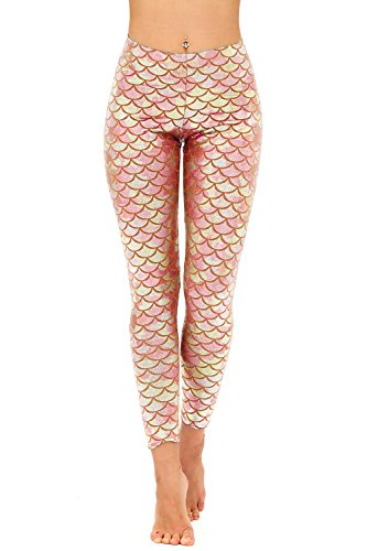 Diamond keep it Women's Mermaid Fish Scale Printing Full Length Leggings (X-Large, Rose)