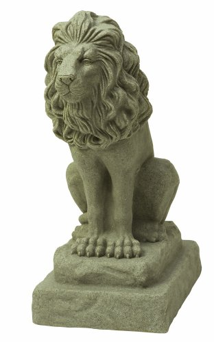 EMSCO Group Guardian Lion Statue - Natural Sandstone Appearance - Made of Resin - Lightweight - 28