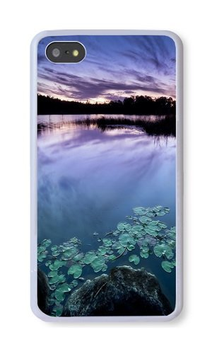 iPhone 5S Case, White PC Hard Phone Cover Case For iPhone 5S With Lake Water Lily Phone Case