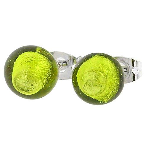 GlassOfVenice Murano Glass Ball Stud Earrings - Lime Green ()