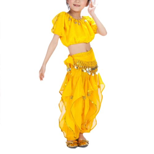 BellyLady Kid Belly Dance Halloween Costume, Harem Pants & Short Sleeve Top Set-Yellow-M]()
