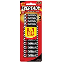 Eveready 1215-8+1212-4 AA and AAA Carbon Zinc Batteries - 12 Pieces