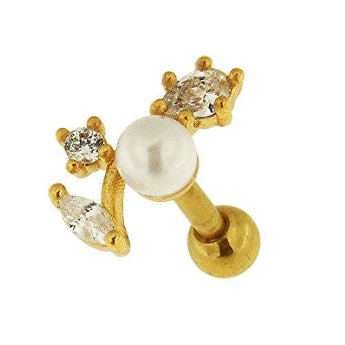 Gold PVD CZ Stone with Pearl Leaf Shape 316L Surgical Steel Cartilage Helix Tragus Earring Piercing