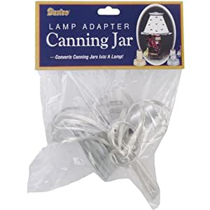 Darice Canning Jar Lamp Adapter, Zinc/Small Mouth/Silver Cord