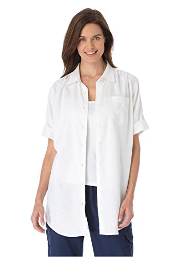 Women's Plus Size Linen-Blend Short-Sleeve Shirt With A Generous Fit