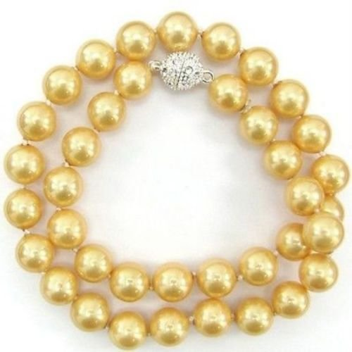 18 10mm Necklace Golden Pearl - Gozebra(TM) 10mm Golden South Sea Shell Pearl Necklace 18