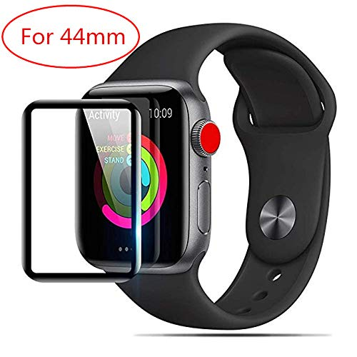 [2-Pack] Apple Watch Serie 4 44MM Screen Protector, LuettBiden [9H Hardness] [Anti-Scratches] [Anti-Fingerprint] Tempered Glass Screen Protector Film Compatible Watch Serie 4 44MM [Black]