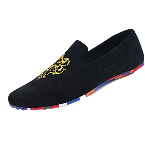 Black Loafer blue Shoes Black Velvet Mens Embroidery Vintage Smoking red Slipper on Slip Indoors Pattrily Noble XnUZwgHXq