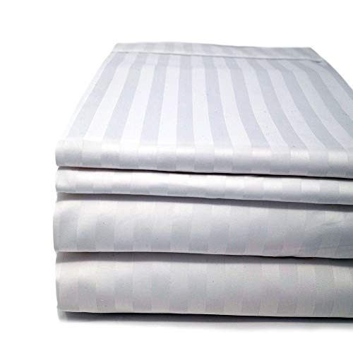 (CinchFit Sheets - The Only Stay On and No Tear Design - Split Flex Top King - No Tear - Adjustable Bed Sheet Set 600 Thread Count 4PC 100% Cotton Smooth Sateen Finish and Damask Stripe (White))
