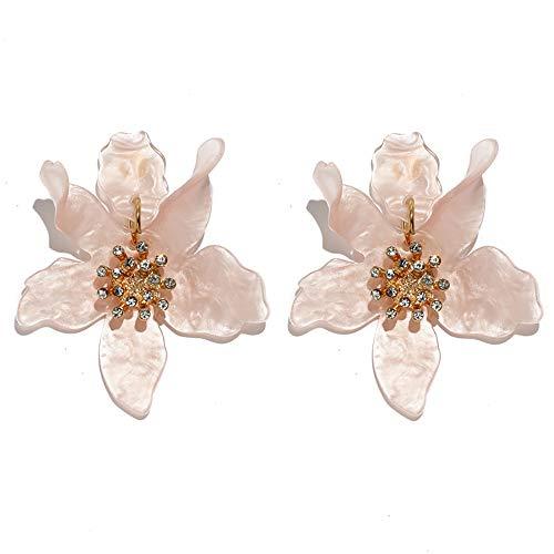 GaFree Fashion Resin Acrylic Flower Drop Earrings Bohemian Luxury Oversize Big Flower Earrings For Women (Pink Floral Earrings)