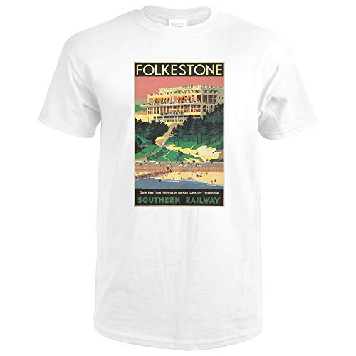 Folkstone - Southern Railway Vintage Poster (artist: Danvers, Verney L.) England c. 1947 64823 (Premium White T-Shirt XX-Large)