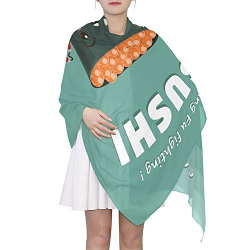 Women's Scarf Silk Scarf Blanket Lightweight Scarves Fashion Neck Scarf Poncho with Cute Cartoon Caviar Sushi Shawl Wrap 70