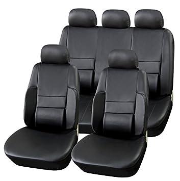 PREMIUM Kunstleder Sitzbezug Schonbezug R/ÜCKBANK SCHWARZ SET Universal Universell f/ür viele Fahrzeuge