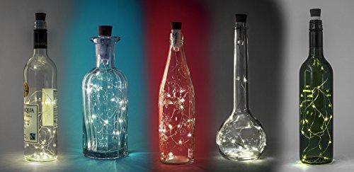 Corcho Luz Cadena 1 m Alambre de cobre 20 LED Lámparas para botellas de vino, fiestas, bodas Blanco LED Luz: Amazon.es: Iluminación